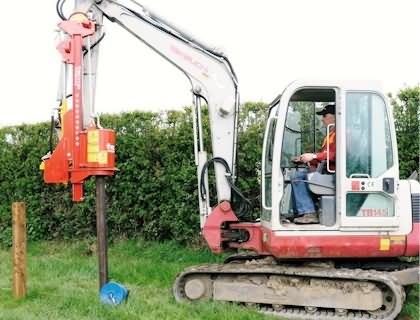 Model 6 Mini Excavator Post Driver Vector Powerdrive