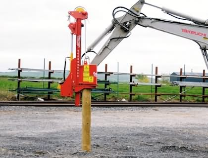 Model 6 Mini Excavator Post Driver Vector Powerdrive